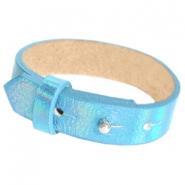 Cuoio armbanden leer 15 mm voor 20 mm cabochon Holographic blue