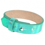 Cuoio armbanden leer 15 mm voor 20 mm cabochon Holographic green