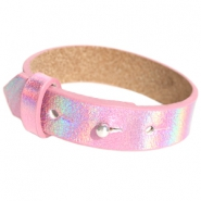 Cuoio armbanden leer 15 mm voor 20 mm cabochon Holographic pink