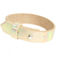 Cuoio armbanden leer 15 mm voor 20 mm cabochon Holographic champagne