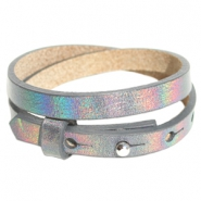 Cuoio armbanden leer 8 mm dubbel voor 12 mm cabochon Holographic anthracite