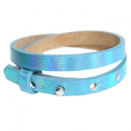 Cuoio armbanden leer 8 mm dubbel voor 12 mm cabochon Holographic blue