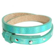 Cuoio armbanden leer 8 mm dubbel voor 12 mm cabochon Holographic green