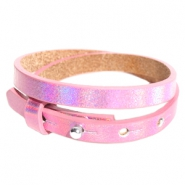Cuoio armbanden leer 8 mm dubbel voor 12 mm cabochon Holographic pink