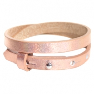 Cuoio armbanden leer 8 mm dubbel voor 12 mm cabochon Holographic rosegold