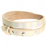 Cuoio armbanden leer 8 mm dubbel voor 12 mm cabochon Holographic champagne