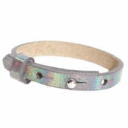 Cuoio armband leer kids 8mm voor 12mm cabochon Holographic anthracite