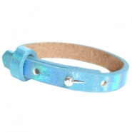Cuoio armband leer kids 8mm voor 12mm cabochon Holographic blue