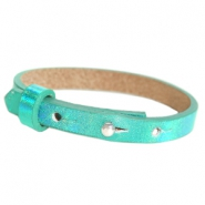 Cuoio armband leer kids 8mm voor 12mm cabochon Holographic green