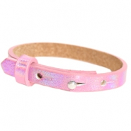 Cuoio armband leer kids 8mm voor 12mm cabochon Holographic pink