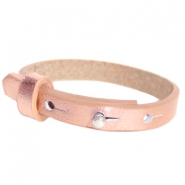 Cuoio armband leer kids 8mm voor 12mm cabochon Holographic rosegold