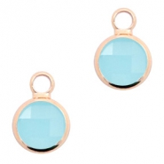 Hangers van crystal glas rond 8mm Turquoise blue opal-rosegold