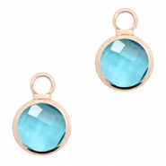 Hangers van crystal glas rond 8mm Turquoise blue crystal-rosegold