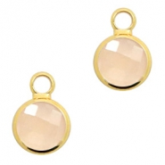 Hangers van crystal glas rond 8mm Light peach opal-gold