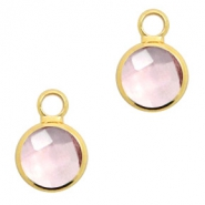 Hangers van crystal glas rond 8mm Vintage rose crystal-gold