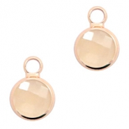 Hangers van crystal glas rond 6mm Light peach opal-rosgold