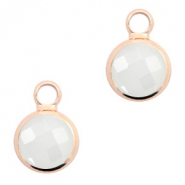 Hangers van crystal glas rond 6mm Off white opal-rosegold