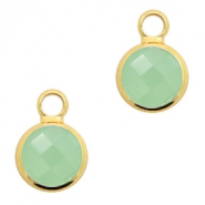 Hangers van crystal glas rond 6mm Crysolite green opal-gold