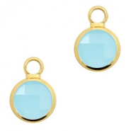 Hangers van crystal glas rond 6mm Turquoise blue opal-gold