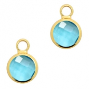 Hangers van crystal glas rond 6mm Turquoise blue crystal-gold