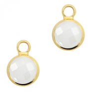 Hangers van crystal glas rond 6mm Off white opal-gold
