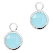 Hangers van crystal glas rond 6mm Turquoise blue opal-silver