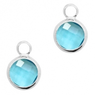 Hangers van crystal glas rond 6mm Turquoise blue crystal-silver