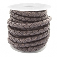 DQ leer 4 draden rond gevlochten 3mm Vintage rock grey-brown