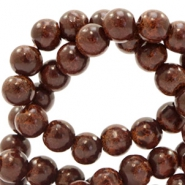6 mm glaskralen stone look Dark brown