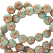 8 mm glaskralen stone look Turquoise-brown