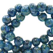 6 mm glaskralen stone look Admiral blue-green
