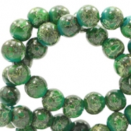 6 mm glaskralen stone look Classic green-yellow