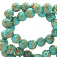 8 mm glaskralen stone look Dark turquoise-rose brown