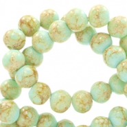 8 mm glaskralen stone look Light turquoise blue-light brown