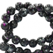 8 mm glaskralen stone look Black-purple white