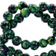 6 mm glaskralen stone look Classic green-black