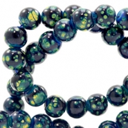 8 mm glaskralen stone look Dark blue-green