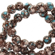 6 mm glaskralen stone look Brown-turquoise white