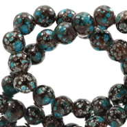 8 mm glaskralen stone look Brown-turquoise