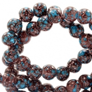 8 mm glaskralen stone look Dark brown-turquoise