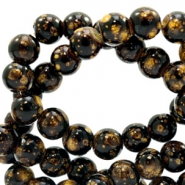 8 mm glaskralen stone look Dark brown-gold