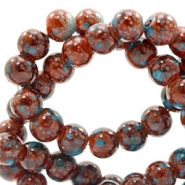 8 mm glaskralen stone look Rose brown-turquoise