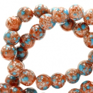8 mm glaskralen stone look Red brown-turquoise