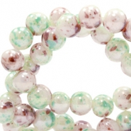 8 mm glaskralen gemêleerd Greenish white-brown