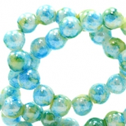 6 mm glaskralen gemêleerd Light blue-green