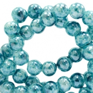 8 mm glaskralen gemêleerd Ocean blue
