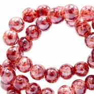8 mm glaskralen gemêleerd Red