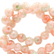 6 mm glaskralen gemêleerd Peach orange-green