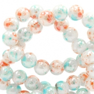 6 mm glaskralen gemêleerd Coral-white blue