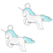 Basic Quality metalen bedels unicorn Silver-turquoise blue